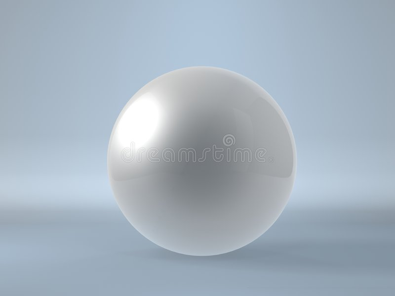 Single pearl. Single shinning pearl isolated on blue background