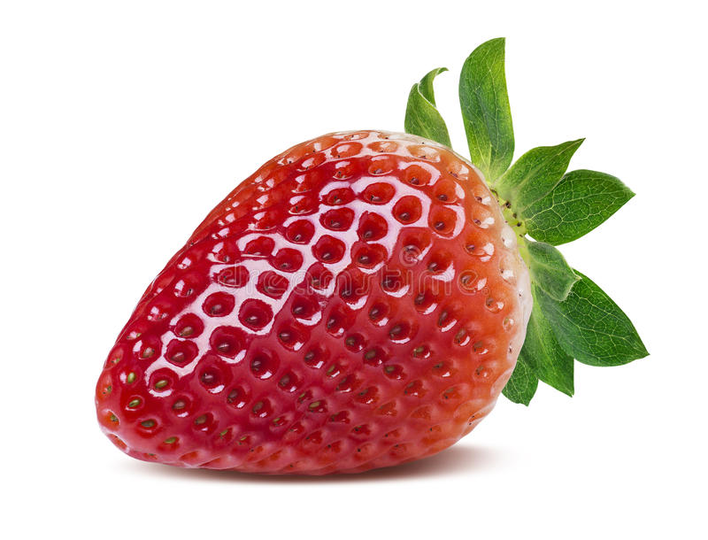 Single perfect strawberry isolated on white background. As package design element stock photo