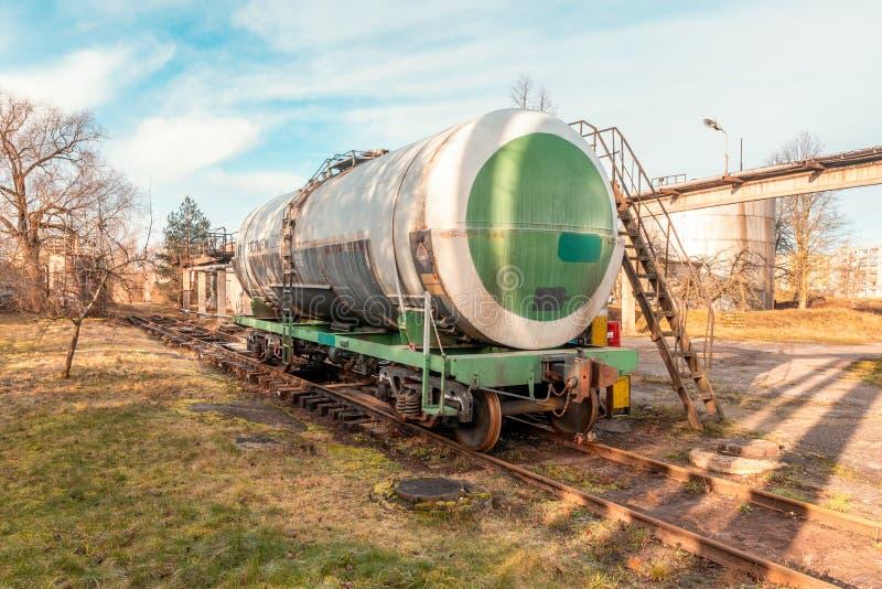 Single petroleum tank on the railroad stock photos