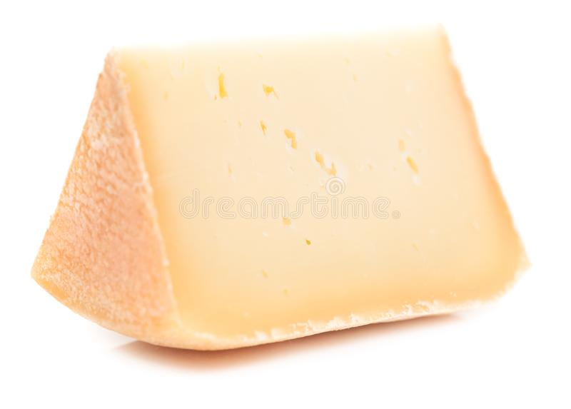 Single piece of natural hard cheese  stock photo