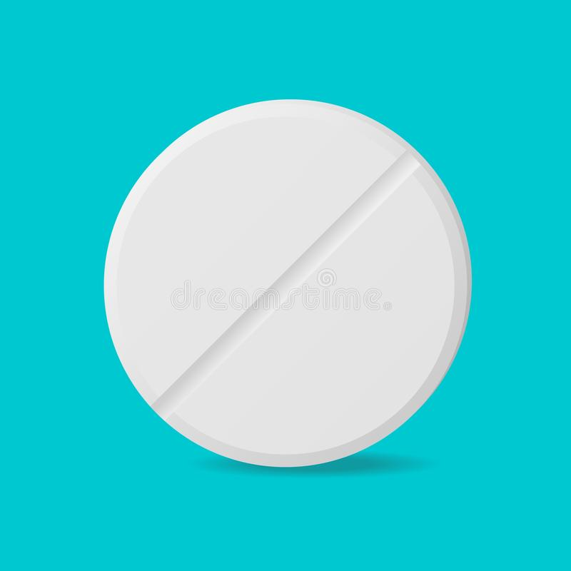 Single pill on blue background top view royalty free illustration
