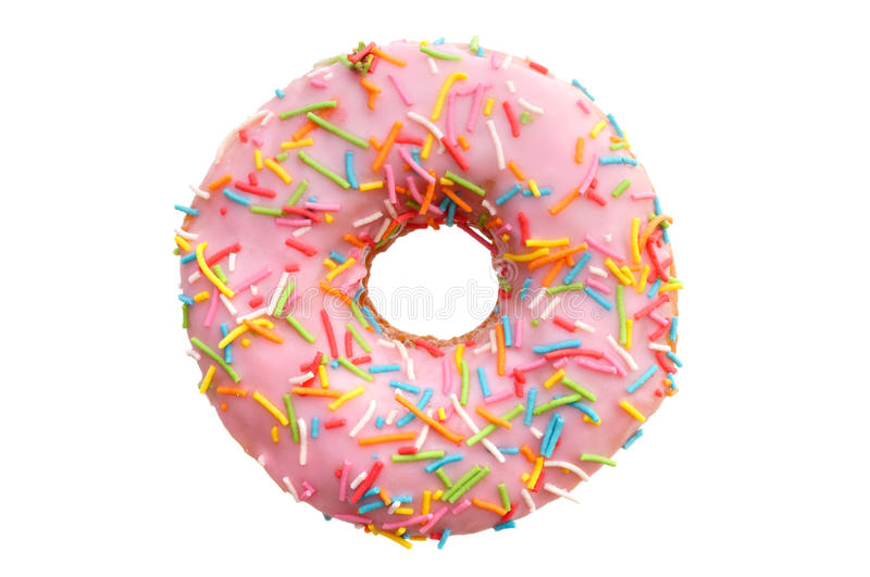 Single pink donut royalty free stock photos