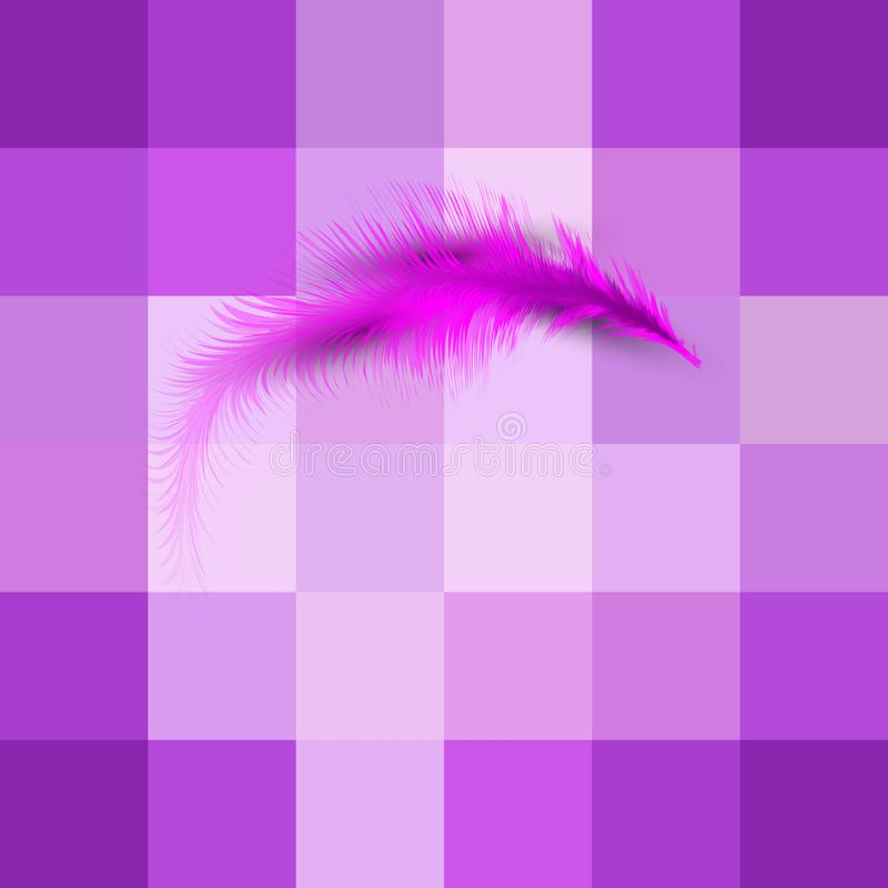 Single pink feather vector. Levitation plume, lightness concept icon. Isolated or Purple gradient squares abstract background royalty free illustration