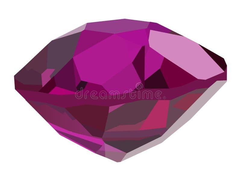 Single pink gem on white