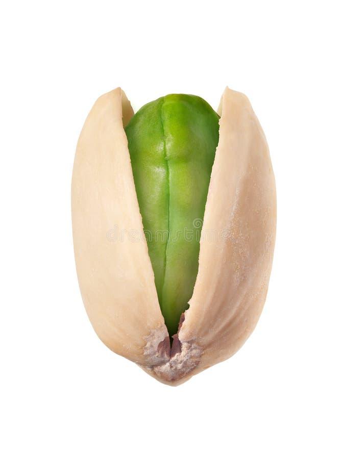 Single Pistachio seed isolated on white background. Heroic shot of single Pistachio seed isolated on white background stock image