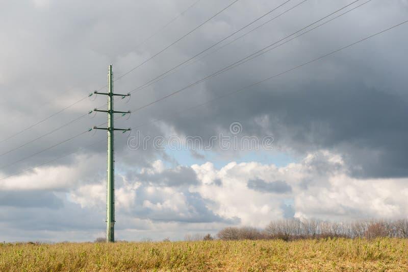 A single powerline in East-Flanders stock photo