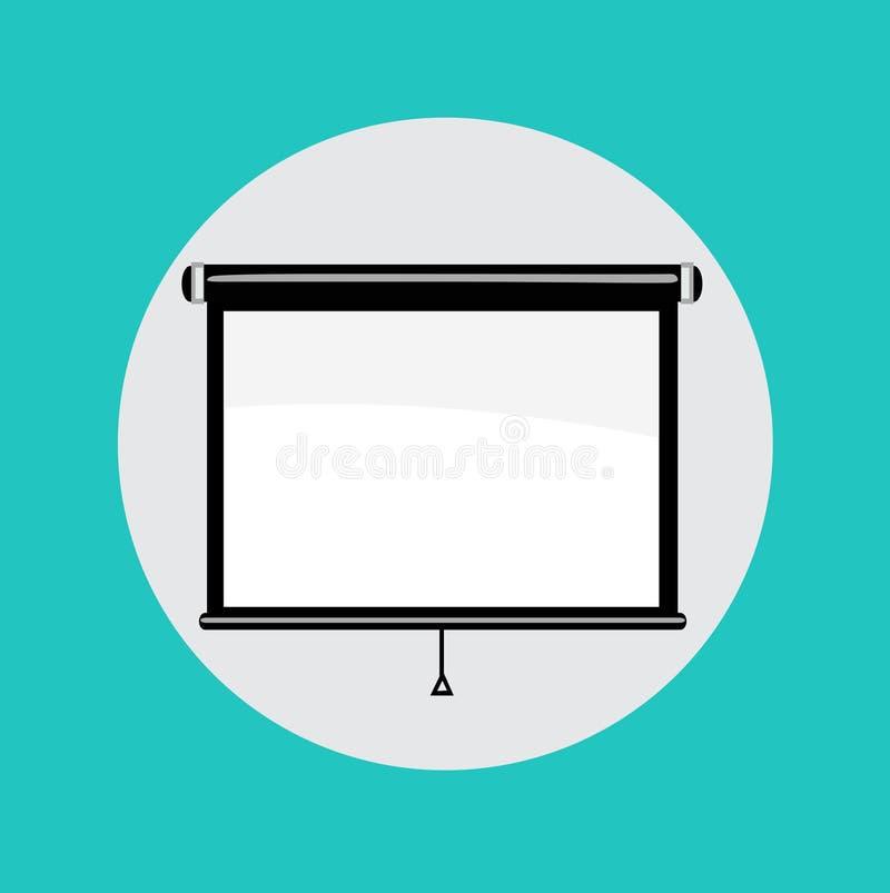 Single projector flat design icon. Vector royalty free illustration