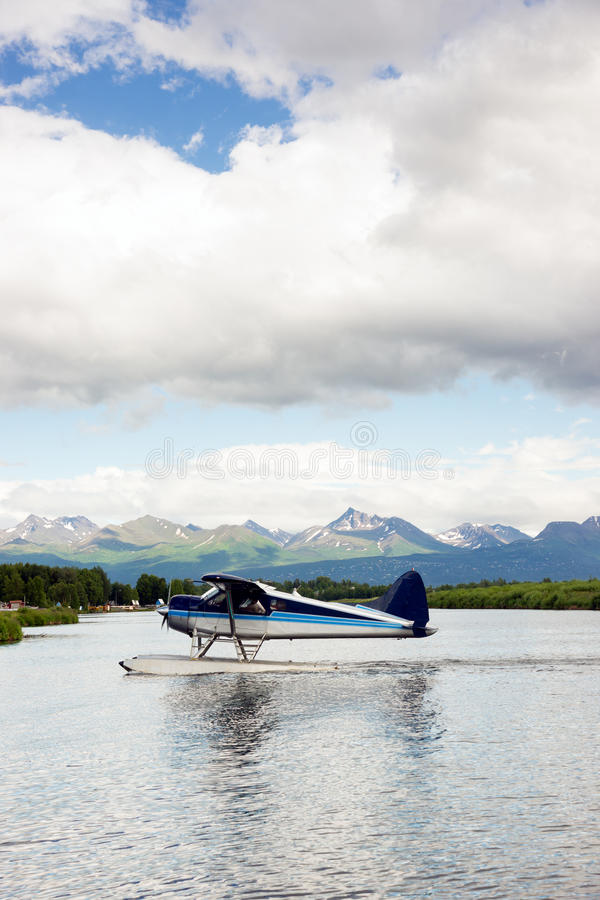Single Prop Airplane Pontoon Plane Water Landing Alaska Last Fro royalty free stock image