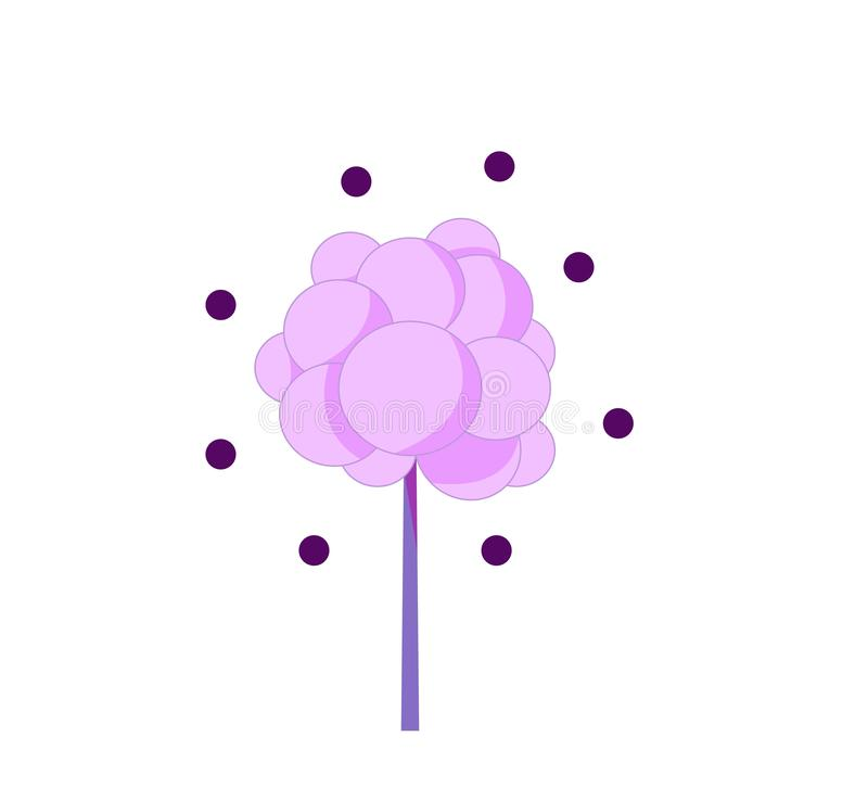Single purple tree on a white background with circles royalty free illustration