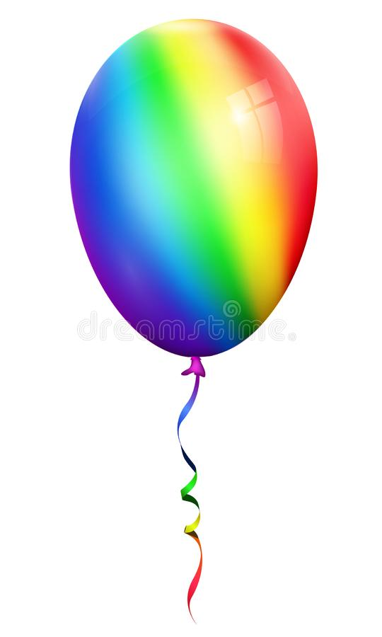 Single realistic rainbow 3d ballon isolated on white background. Eps 10 royalty free illustration