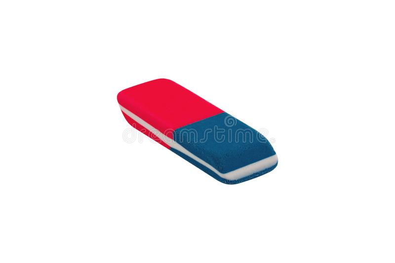 Single rectangular rubber eraser for pencil and pen ink isolated on white background. Clipping path royalty free stock images