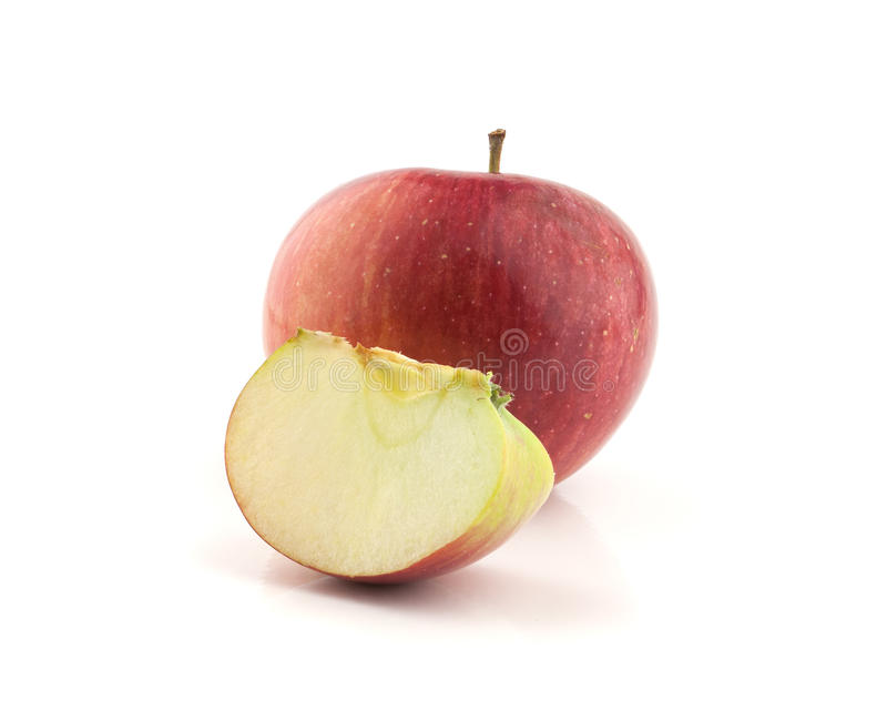 Single red apple with lobule. Isolated on white background stock image