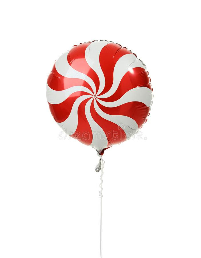 Single red big round candy lollypop balloon object for birthday isolated stock images