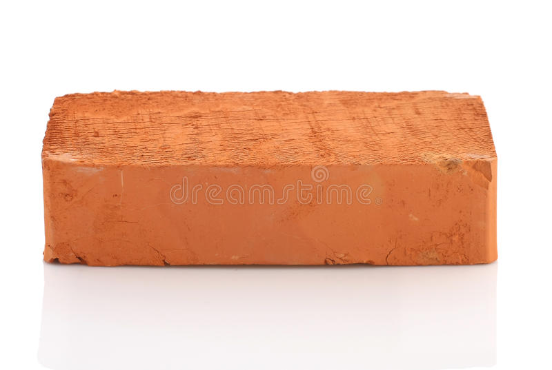 Download Single Red Brick On White Background Stock Photo
