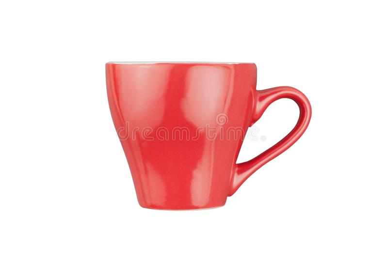 Single red ceramic cup for drinks or other liquid products isolated on white. Background stock images