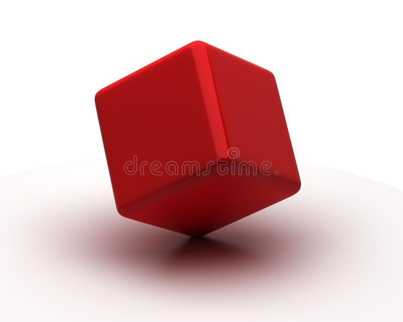 Single Cube. Single red cube on the white background vector illustration