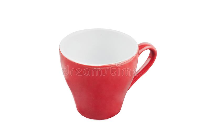 Single red empty ceramic cup for drinks or other liquid products isolated on white. Background stock image