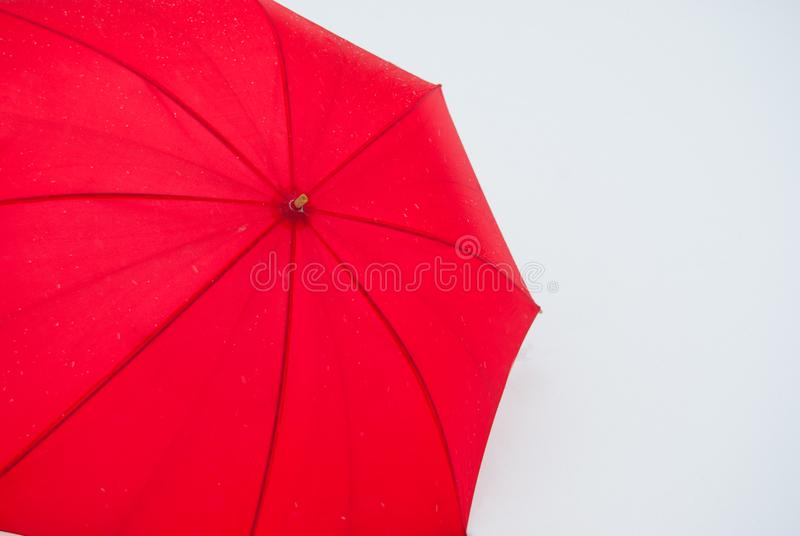 Single red umbrella seen from above stock images
