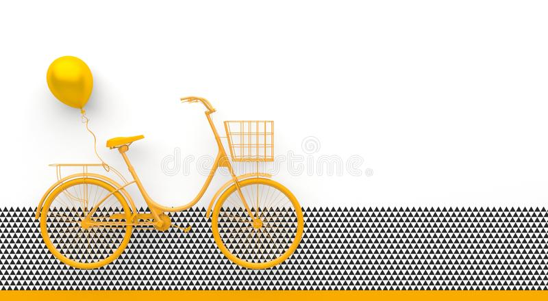 Single retro bicycle with a balloon painted in monochrome yellow color. Isolated on white background with black and white geometri vector illustration