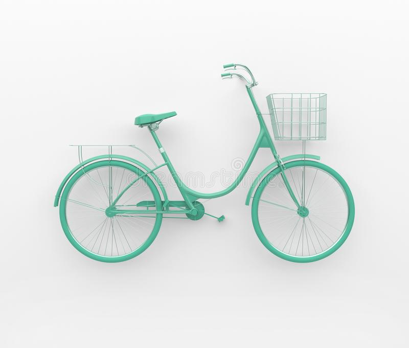 Single retro bicycle painted in monochrome turquoise. Isolated on white background. Abstract concept. 3D render. stock illustration