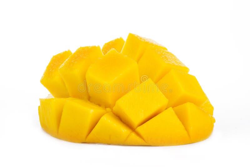 Ripe Yellow mango slice cubes isolated white background royalty free stock images