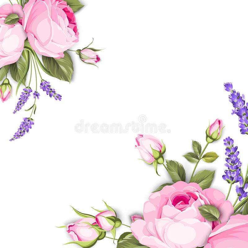 Single rose card. Gentle vintage card with hand drawn floral wreath in watercolor style - fragrant lavender. Vector illustration royalty free illustration