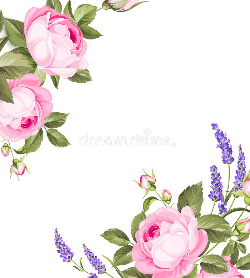Single rose card. Gentle vintage card with hand drawn floral wreath in watercolor style - fragrant lavender. Vector illustration vector illustration