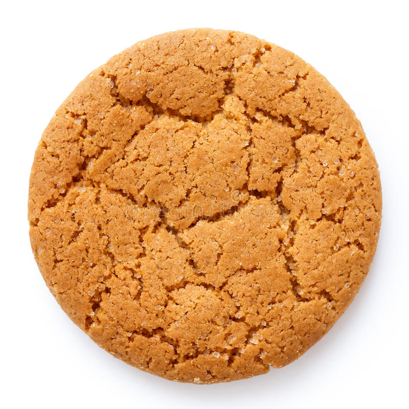 Free Single Round Ginger Biscuit Isolated On White From Above. Royalty Free Stock Photography - 64665457