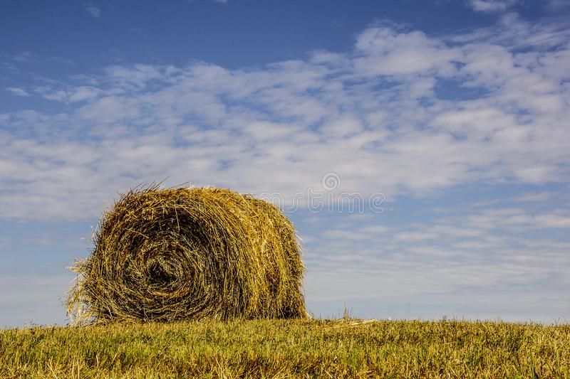 Single Round Hay Bale in Farm Field with Blue Sky stock photos