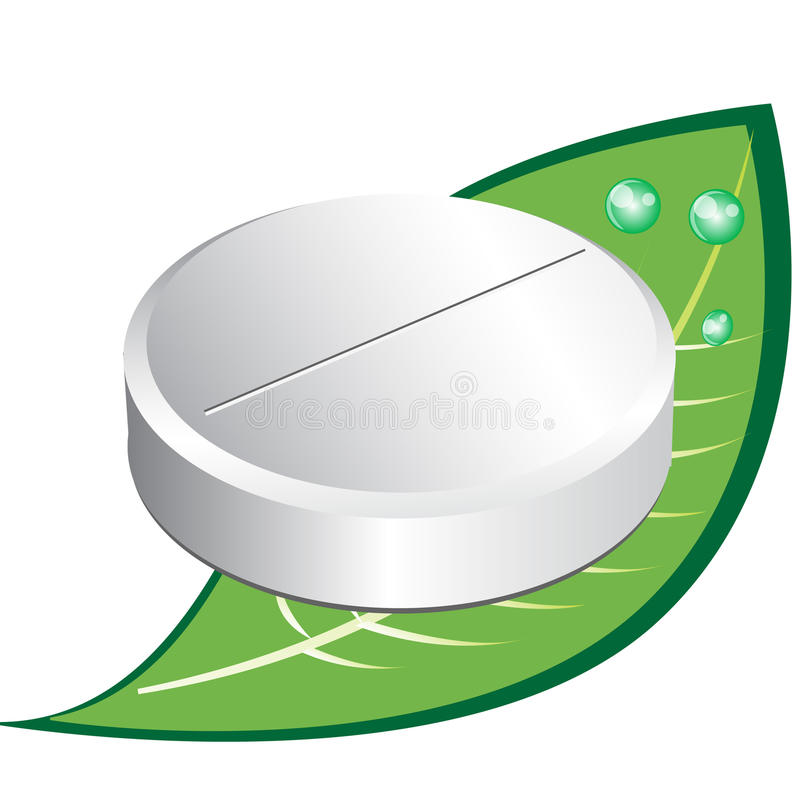 Single round pill on leaf vector illustration
