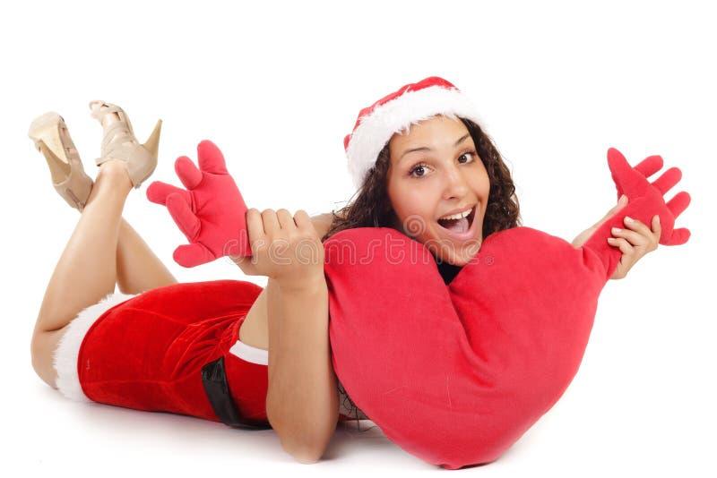 Single Santa Woman Heart Stock Images