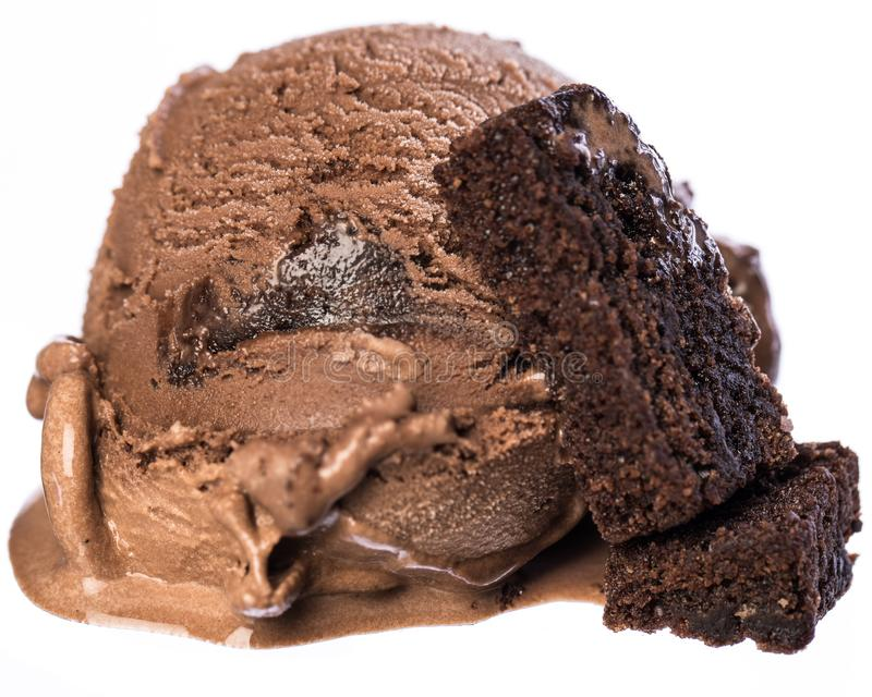 Single scoop of chocolate - brownie ice cream with brownies isolated on white background front view stock photography