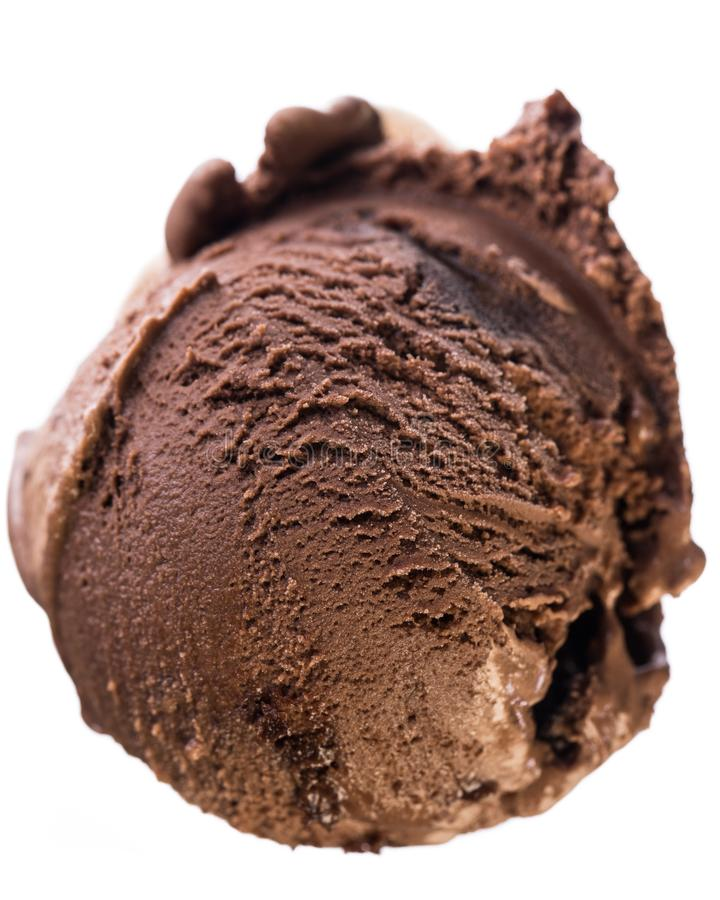 Single scoop of chocolate - brownie ice cream isolated on white background - birds eyes view royalty free stock image