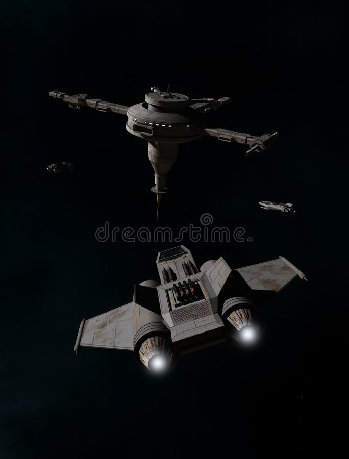 Single Seater Fighter Spacecraft Approaching a Space Station. Science fiction illustration of single seater fighter spaceships approaching a deep space royalty free illustration