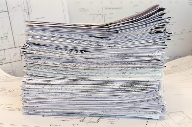 Single-sheet stationery of project drawings stock images
