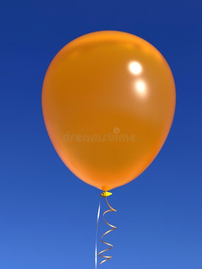 Yellow helium balloon with ribbons on blue sky. Single shiny yellow helium balloon with shiny ribbons, floating on deep blue sky background. Celebration, joy stock photo