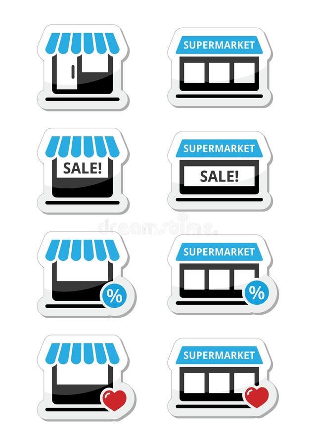 single shop store supermarket icons set stock illustration image 31822998. Black Bedroom Furniture Sets. Home Design Ideas