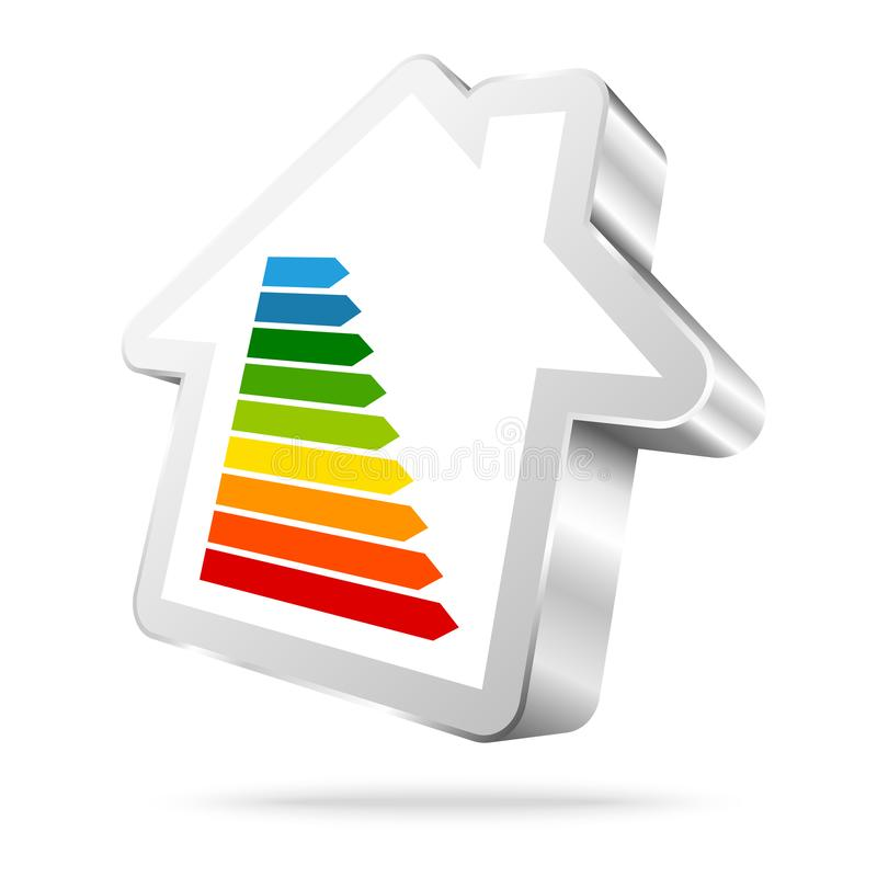 Single Silver House Icon Energy Nine Bars vector illustration