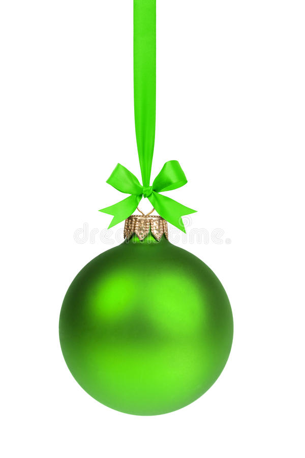 Single simple green christmas ball hanging on ribbon stock images