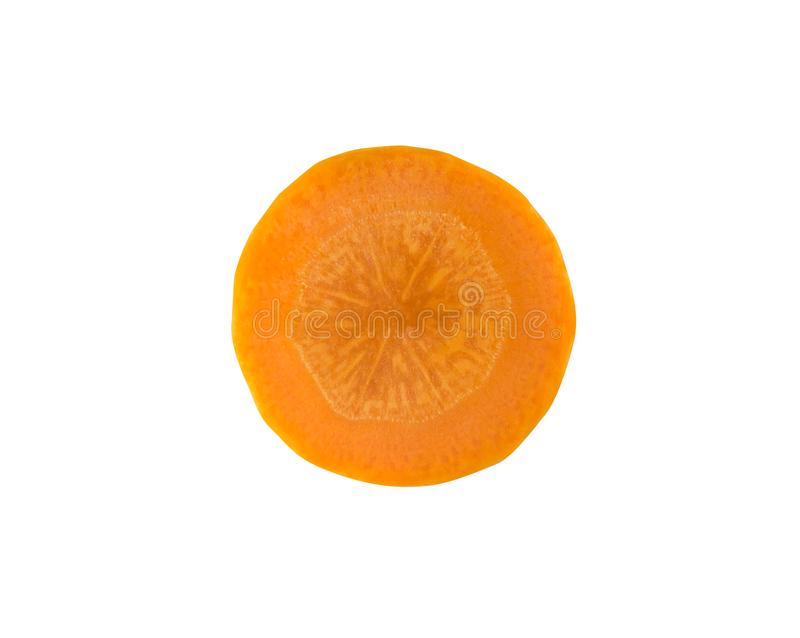 A single slice top view of fresh orange carrot isolated on white background royalty free stock images
