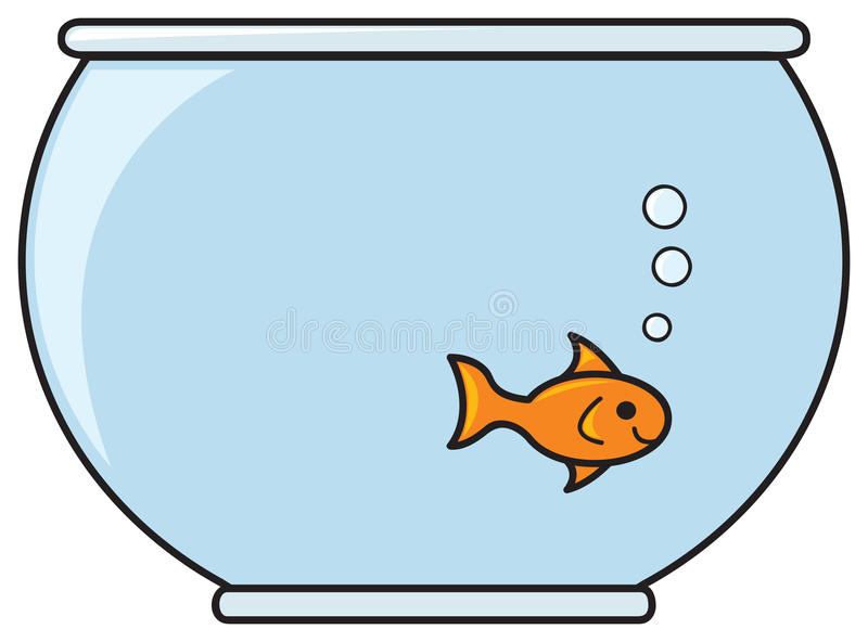 Fish in a Bowl. A single smiling goldfish in a bowl full of water stock illustration