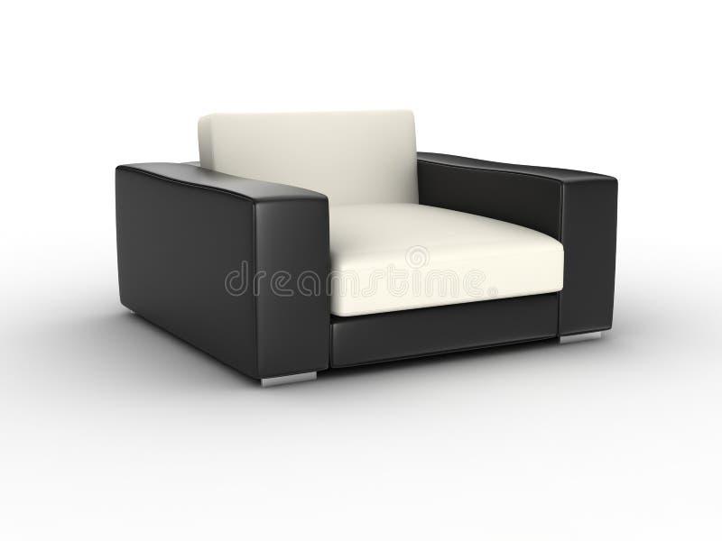 Single sofa. 3D render single leather sofa on white background royalty free stock photos