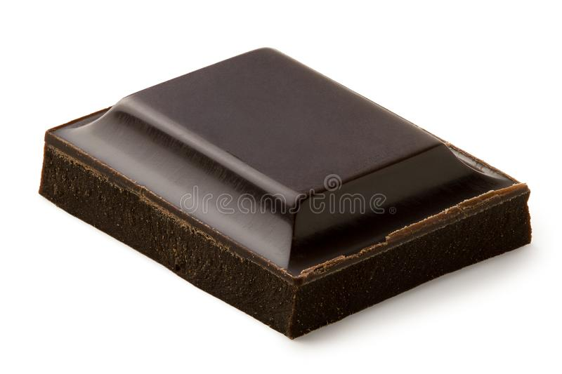Single square of dark chocolate isolated on white royalty free stock images