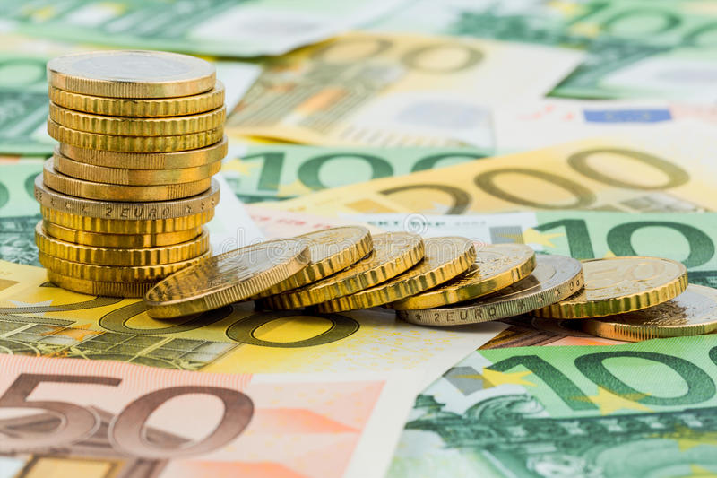 Single stack coins stock image