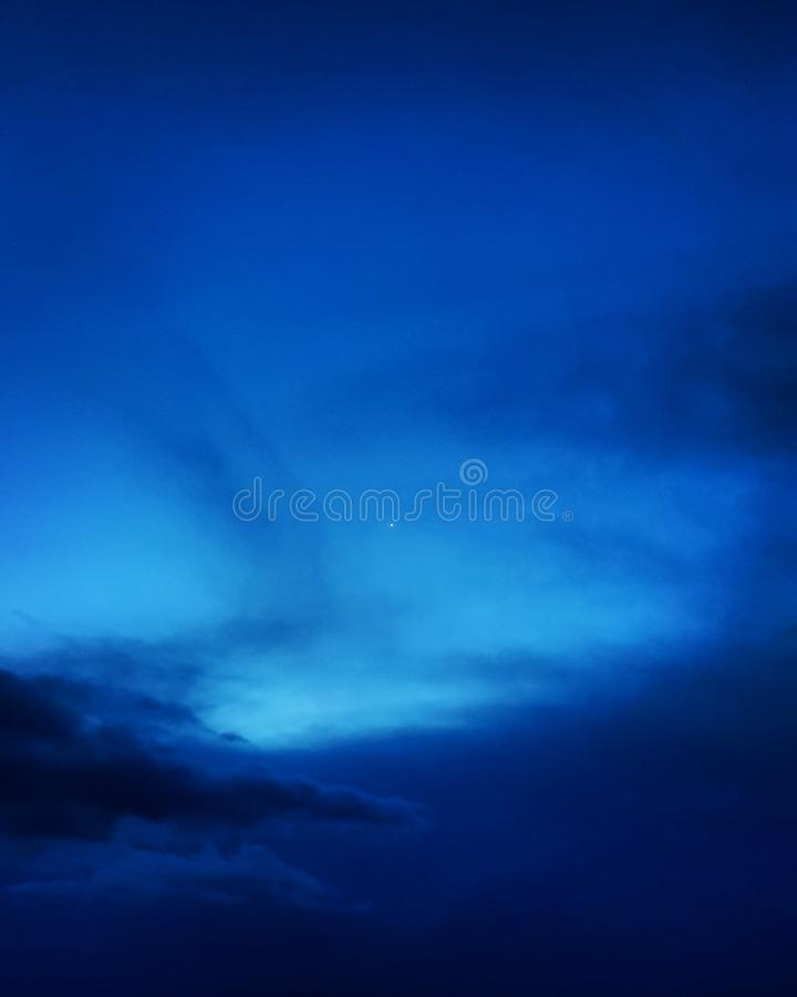 Single star in the nights sky. Solo star in the nights sky just after sunset, taken in Arugum Bay, Sri lanka stock images