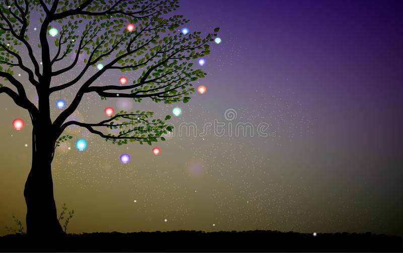 Single summer fairy tree with colored lanterns and sparkles, tree and fireflies in the evening, magic fairy evening,. Vector royalty free illustration