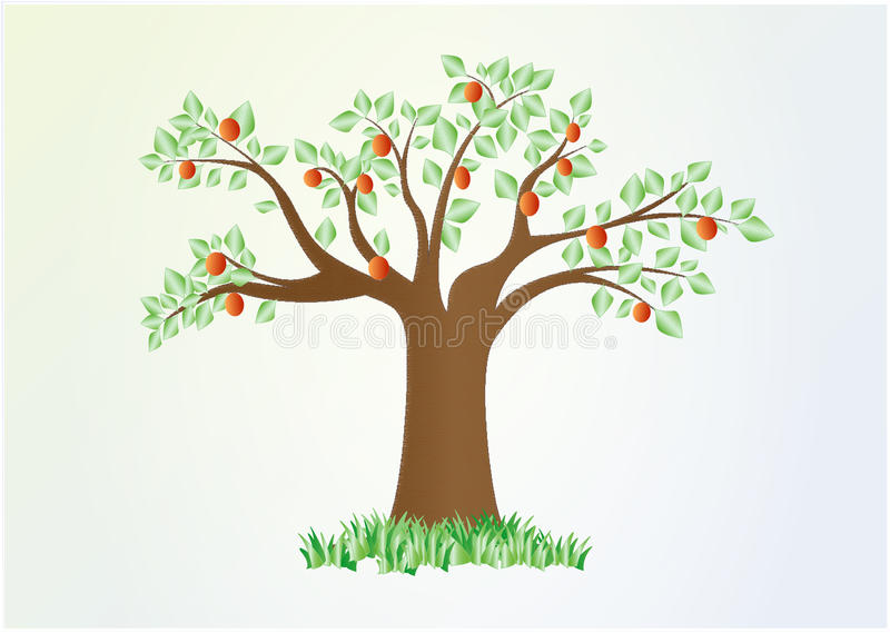 Single summer tree with green leaves and red fruit, vector, horizontal.  stock illustration