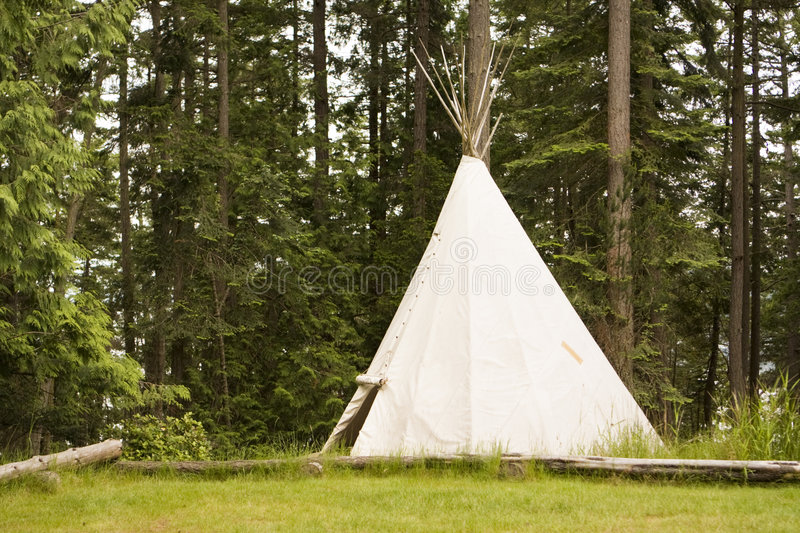 Single Teepee In Field stock photo