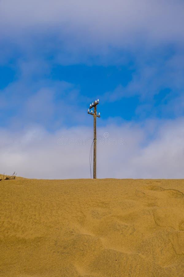 Telephone pole Kolmanskop royalty free stock photos