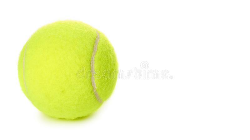 Single tennis ball isolated on white background. copy space, template royalty free stock photography